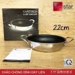 Chảo chống dính Inox 2 quai đáy liền Fivestar Plus đường kính 22cm - Hàng chính hãng, bảo hành 5 năm