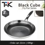 Chảo chống dính Inox 304 đường kính 22cm T&K Blackcube Hàn Quốc dùng bếp từ, bảo hàng 2 năm