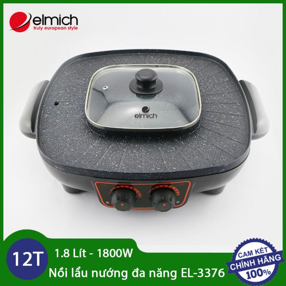 Nồi lẩu nướng đa năng 1.8 lít 1800W Elmich EL-3376 - Hàng chính hãng, bảo hành 12 tháng
