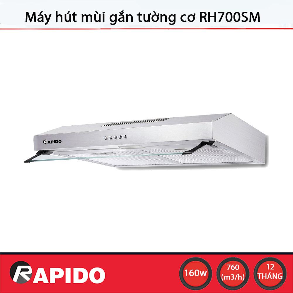 Máy hút mùi Rapido RH700SM điều khiển cơ - Chính hãng, bảo hành 12 tháng