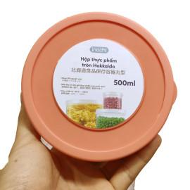 Bộ 3 hộp nhựa đựng thực phẩm tròn Inochi Hokkaido 500ml hàng xuất Nhật