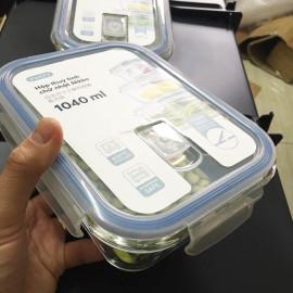 Hộp thủy tinh chữ nhật kháng khuẩn Inochi Nikko 1040ml - nắp hít chân không - Hàng xuất Nhật