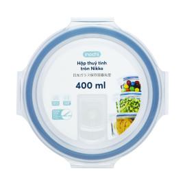 Hộp thuỷ tinh tròn cao cấp kháng khuẩn đựng thực phẩm Inochi Nikko 400ml nắp hít chân không