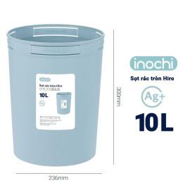 Sọt rác tròn Inochi Hiro 10L xuất Nhật - Công nghệ Ag+ (ion bạc) kháng khuẩn khử mùi