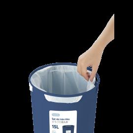 Sọt rác tròn Inochi Hiro 15L xuất Nhật - Công nghệ Ag+ (ion bạc) kháng khuẩn khử mùi