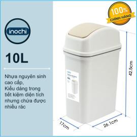 Thùng rác nắp lật xuất Nhật Inochi Hiro 10 lít IHNL-10