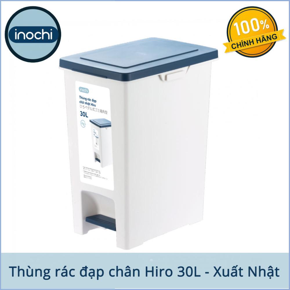 Thùng rác đạp chân chữ nhật Inochi Hiro 30L xuất Nhật - Kháng khuẩn, khử mùi