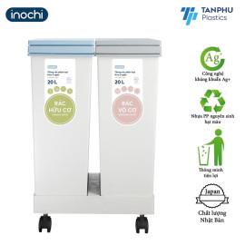 Thùng rác phân loại Inochi Hiro 2 ngăn 40 lít xuất Nhật - Kháng khuẩn, khử mùi