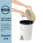 Thùng rác nhựa cao cấp đạp chân nắp đậy tròn Inochi Hiro 12 Lít hàng xuất Nhật Bản