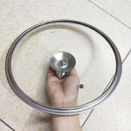 Nắp vung nồi chảo kính cường lực viền inox Lyncen - Hàng chính hãng