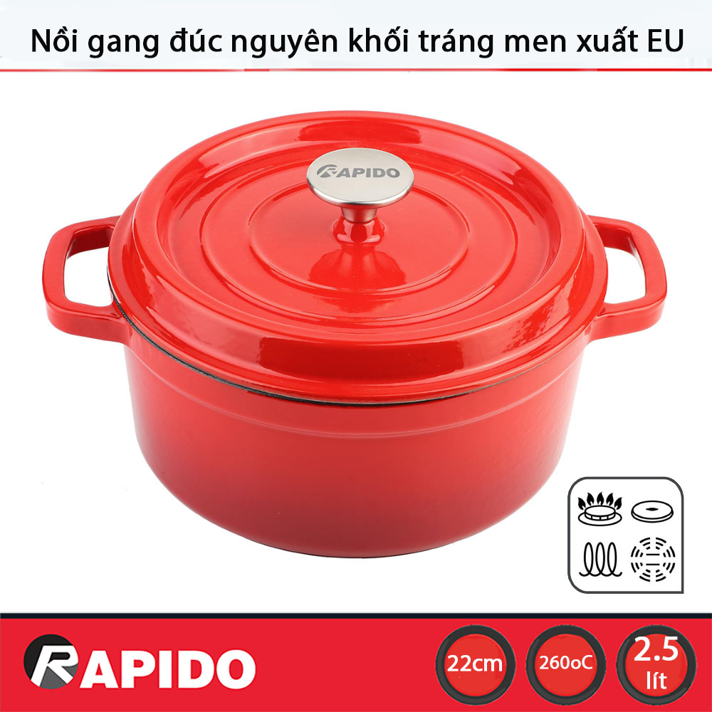 Nồi gang đúc tráng men chống dính Rapido 22cm dùng bếp từ - Bảo hành chính hãng 12 tháng