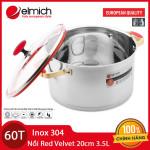 Nồi Inox 304 Red Velvet Elmich đường kính 20cm 3.5L 2355268 dùng bếp từ xuất xứ CH Séc, bảo hành 5 năm