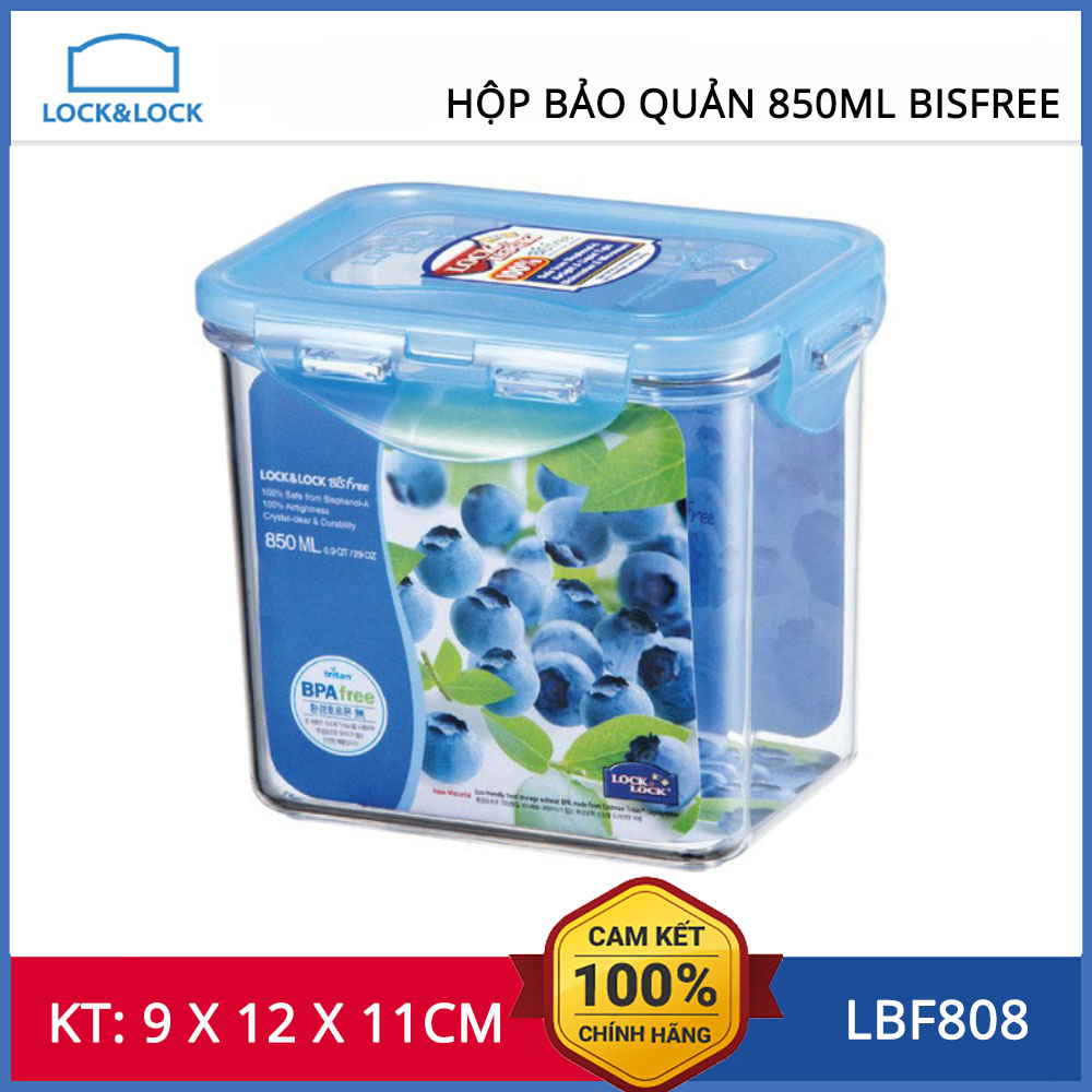 Hộp bảo quản thực phẩm 850ml Lock&Lock Bisfree hình chữ nhật - LBF808