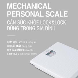 Cân sức khỏe Lock&Lock dùng trong gia đình ENC536WHT tải trọng 120kg - Hàng chính hãng