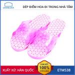 Dép nhựa điểm hoa đi trong nhà tắm Lock&lock ETM538 màu hồng - Xuất xứ Hàn Quốc