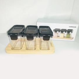 Bộ 3 hộp nhựa đựng gia vị 180ml kèm khay gỗ Lock&Lock HTE570S3