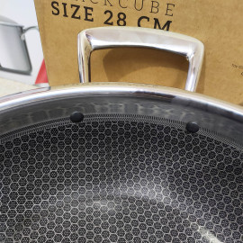 Chảo lẩu Inox 304 sâu lòng đáy liền 3 lớp Fivestar Blackcube 28cm - Hàng chính hãng,bảo hành 5 năm
