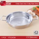 Chảo caro Inox 3 đáy Fivestar 24cm dùng bếp từ - Hàng chính hãng, bảo hành 5 năm
