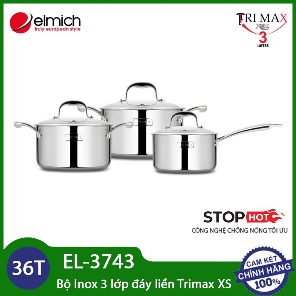 Bộ nồi Inox 304 cao cấp 3 lớp đáy liền Elmich Trimax XS EL-3743 size 16, 20, 24cm
