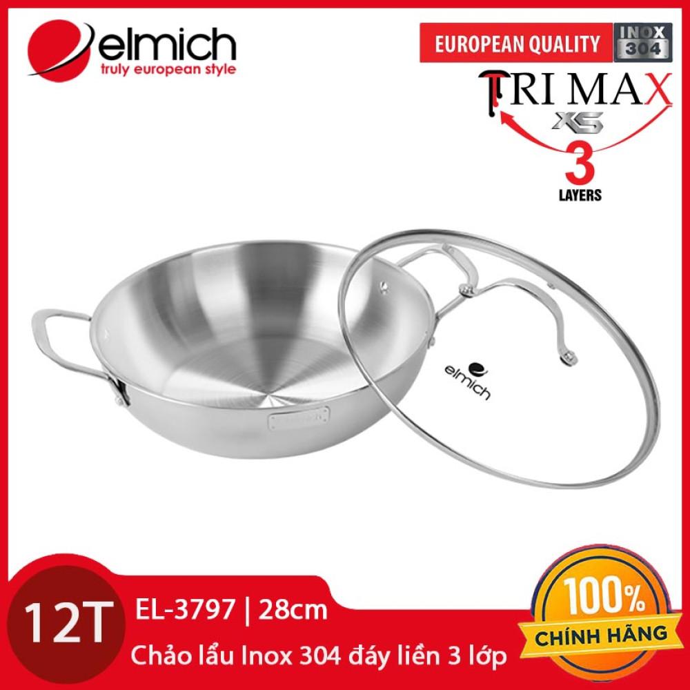 Chảo lẩu Inox 304 cao cấp 3 lớp đáy liền Elmich Tri-Max EL-3797 size 28cm - Hàng chính hãng