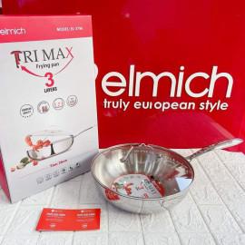 Chảo xào Inox 304 cao cấp 3 Lớp đáy liền Elmich Tri-Max EL-3796 Size 26cm - Hàng chính hãng