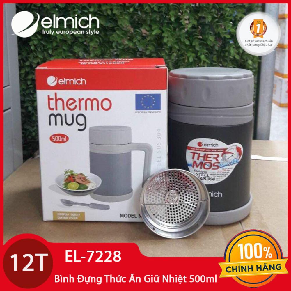 Ca đựng thức ăn Inox 304 giữ nhiệt Elmich 500ml EL-7228 bảo hành chính hãng 12 tháng