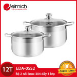Bộ 2 nồi Inox 304 đáy từ 3 lớp Elmich EDA-05S2 size 20 và 24cm