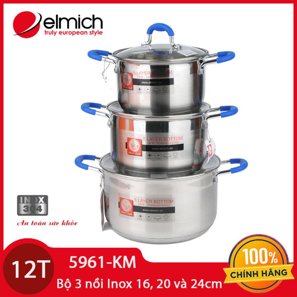 Bộ 3 nồi Inox 304 cao cấp 5 đáy Elmich Smartcook SM-5961 dùng bếp từ - Hàng chính hãng