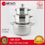 Bộ 3 nồi Inox 304 đáy 5 lớp Elmich Smartcook SM-3337 size 16,20,24cm dùng bếp từ - Xuất xứ CH Séc