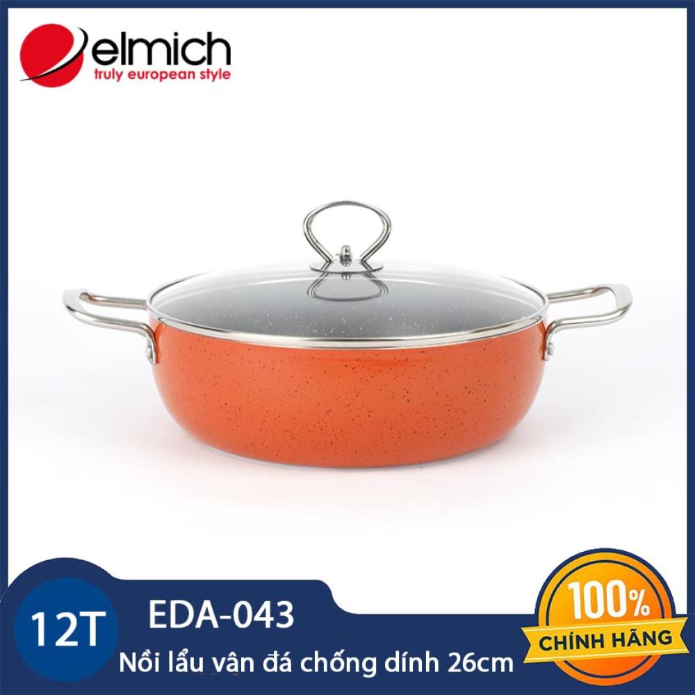 Nồi lẩu vân đá chống dính 26cm Elmich EDA-043 vung kính dùng bếp từ