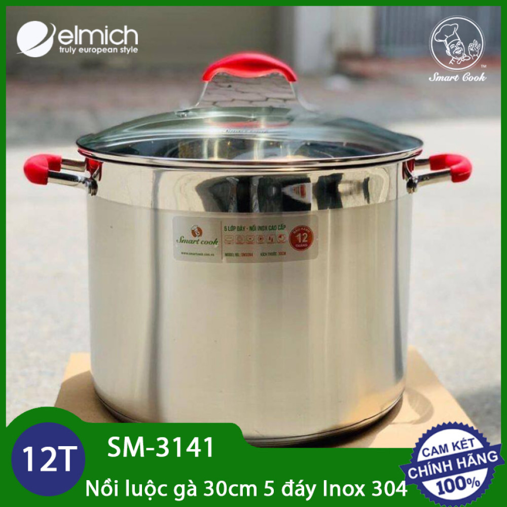 Nồi luộc gà inox 304 Elmich Smartcook 30cm SM-3141 xuất xứ CH Séc dùng bếp từ - Bảo hành 5 năm