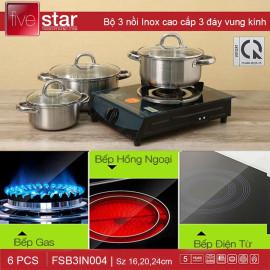Bộ 3 nồi inox 3 đáy nắp kính Fivestar FSB3IN004 dùng bếp từ - Bảo hành 5 năm