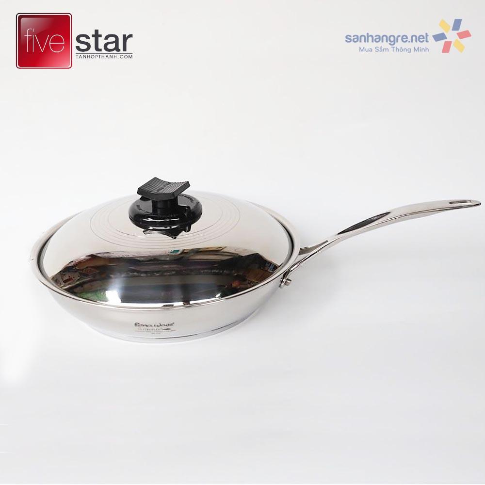 Chảo Inox 304 Fivestar Renaware hàng xuất khẩu Đức 22cm kèm vung dùng bếp từ