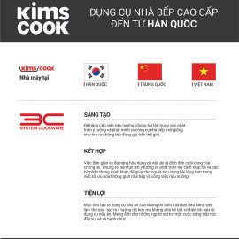 Quánh chống dính 2 mặt Kims Cook Next Style 16cm đáy từ hợp kim nhôm phủ PTFE - Chính hãng bảo hành 24 tháng