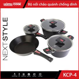 Bộ nồi chảo chống dính 4 món Kim's Cook NEXT STYLE - Hợp kim nhôm đáy từ cao cấp - Bảo hành chính hãng 24 tháng