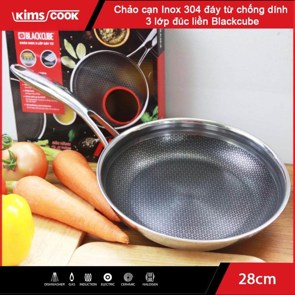Chảo chống dính Inox 304 đường kính 28cm Kims Cook Blackcube nhập khẩu Hàn Quốc dùng bếp từ, bảo hàng 2 năm