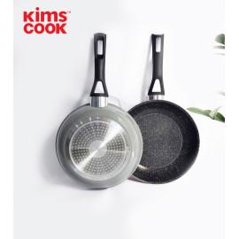 Chảo Hợp Kim Nhôm Chống Dính Vân Đá Đáy Từ Kimscook EASY COOK 24cm EARM124H