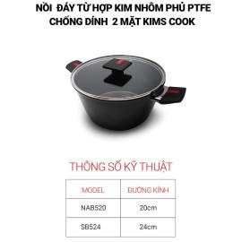 Bộ 2 nồi chống dính 2 mặt Kimscook Next Style Paella đáy từ hợp kim nhôm phủ PTFE - Chính hãng bảo hành 24 tháng