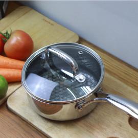 Quánh chống dính 16cm Inox 304 Kims Cook Noon Song 2 mặt 3 lớp đúc liền đáy từ nắp kính
