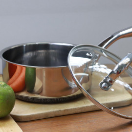 Quánh chống dính 18cm Inox 304 Kims Cook Noon Song 2 mặt 3 lớp đúc liền đáy từ nắp kính