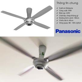 Quạt trần 4 cánh cao cấp Panasonic F-56MPG kèm điều khiển từ xa - Hàng chính hãng, bảo hành 12 tháng