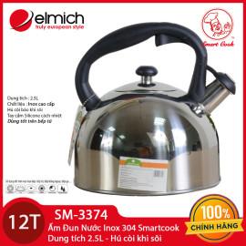 Ấm đun nước Inox 304 Elmich Smartcook 2.5L SM3374 chính hãng hú còi sôi, dùng bếp từ bảo hành 12 tháng