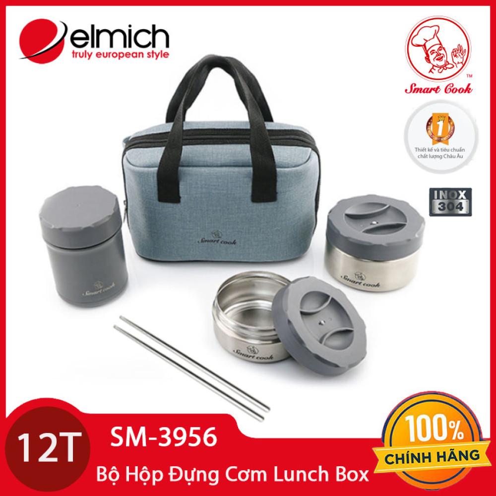Bộ 3 hộp đựng cơm Inox 304 Lunch box Elmich Smartcook SM-3956 bảo hành 12 tháng - Tặng kèm đũa Inox