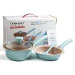Bộ nồi chảo chống dính Baby Tamasaki Nhật Bản 16cm kèm thìa dùng bếp từ - Màu xanh