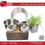 Bộ tô trộn Inox 304 Fivestar 3 món xuất Nhật FSTT001