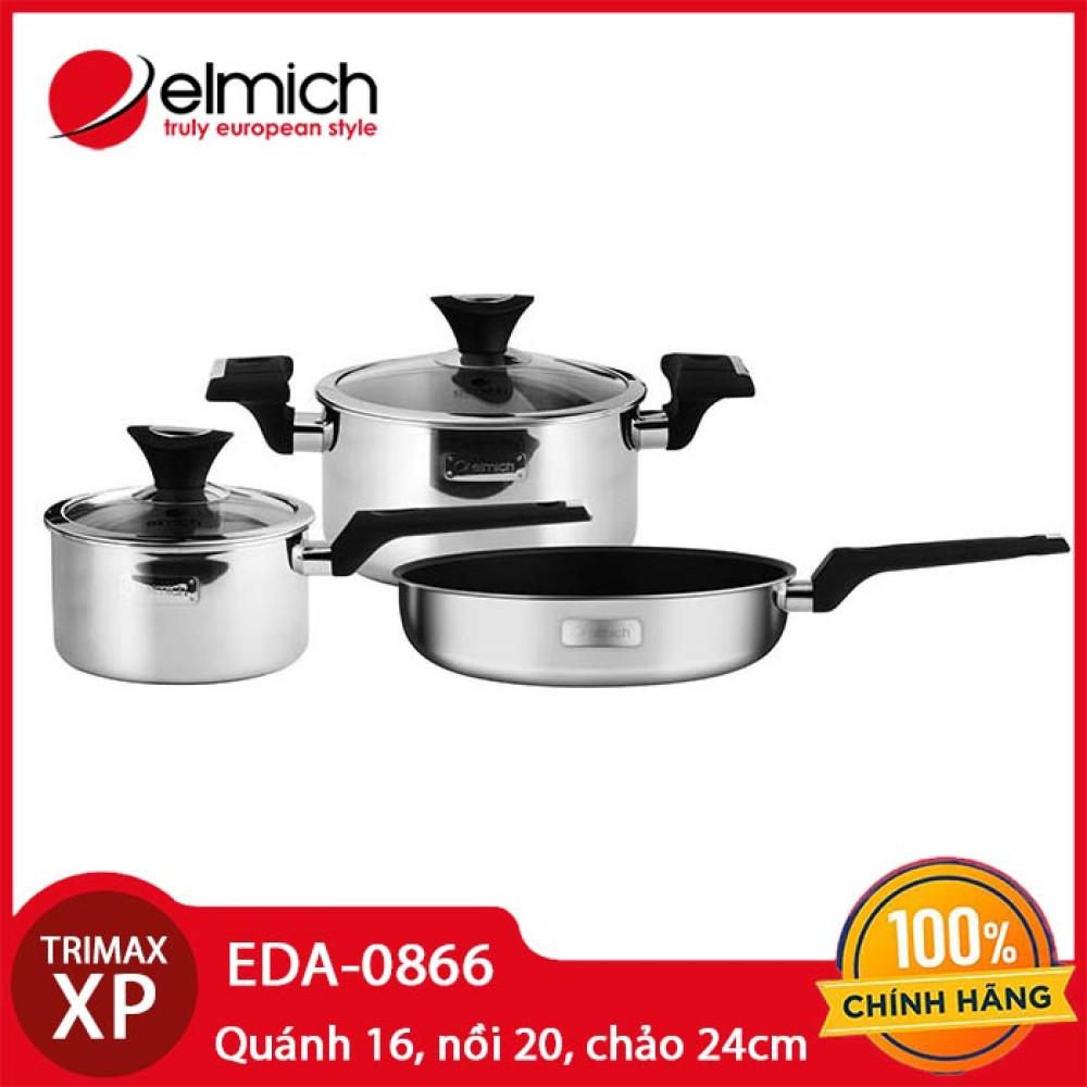 Bộ nồi chảo inox 304 đáy liền 3 lớp cao cấp Elmich Trimax XP model EDA-0866 hàng chính hãng