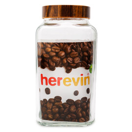 Hũ thủy tinh Herevin vuông trơn nắp Woody 3000ml - Xuất xứ Thổ Nhĩ Kỳ
