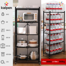 Kệ xếp gấp gọn di động thông minh Kalpen 5 tầng hàng xuất Nhật - 71.5x34x163cm