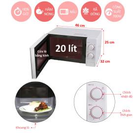 Lò vi sóng cơ LG MS2024D dung tích 20 lít - Hàng chính hãng, bảo hành 12 tháng