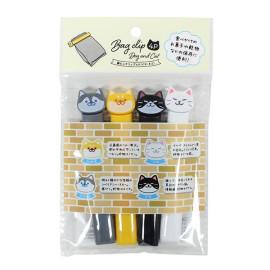 Set 4 dụng cụ kẹp miệng túi Echo xuất Nhật hình mèo